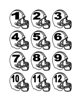 Football Helmet Numbers for Calendar or Math Activity