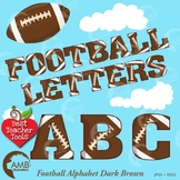 Football Letters Clipart, Dark Brown Alphabet Clipart, Sports Clip Art, AMB-308