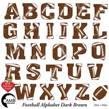 Football Letters Clipart, Dark Brown Alphabet Clipart, Sports Clip Art, AMB-308