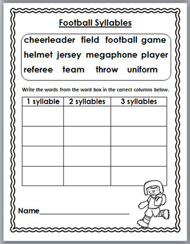 Football Theme Classroom Literacy Activities - Sports Theme Classroom Activity