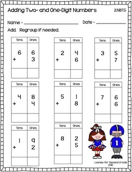 Football Math - Adding One- and Two-Digit Numbers