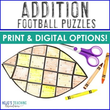 ADDITION Football Fact Games | FUN Sports Theme Activities for Classroom Decor