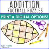 ADDITION Football Math Games, Centers, or Worksheet Alternatives