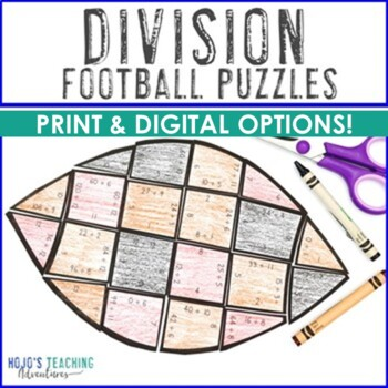 Football Activities - Math Centers - Division Puzzles