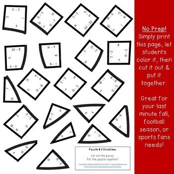 Football Activities - Math Centers - Subtraction Puzzles