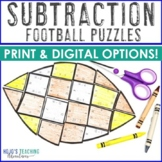 Football Math SUBTRACTION Games, Activities, Stations, or Centers