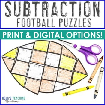 Football Math Centers: Subtraction Puzzles