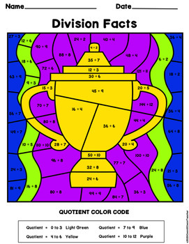Football Math:  Division Color By Number