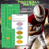 Football Addition or Subtraction Math Game Boards