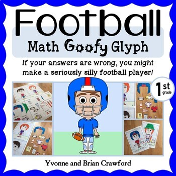 Football Math Goofy Glyph (1st Grade Common Core)