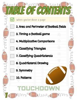 Football Math Packet