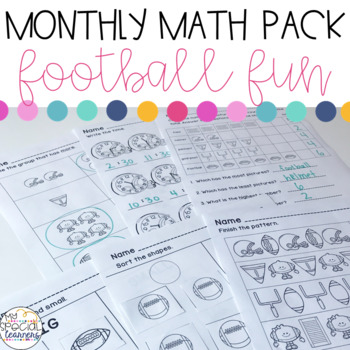 Football Math Printables for Special Education