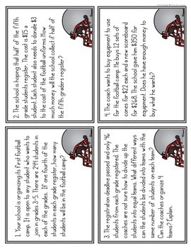 Football Math Problem Solving Task Cards