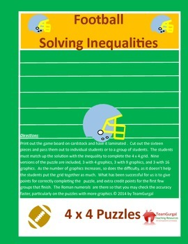 Football Math Puzzle - Solving Inequalities