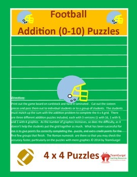 Football Math Puzzles -  Addition Facts (0-10)