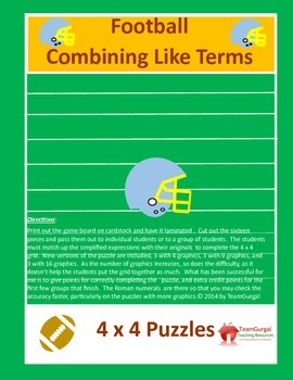 Football Math Puzzles - Combining Like Terms