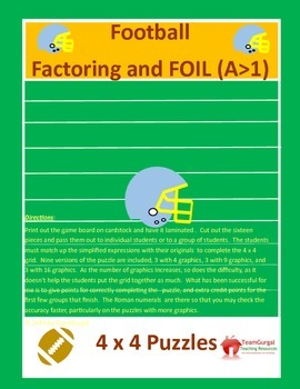 Football Math Puzzles-Factoring & FOIL Method Leading Coefficient Greater than 1