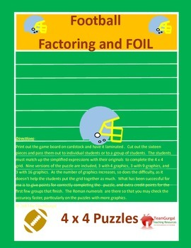 Football Math Puzzles - Factoring and FOIL Method