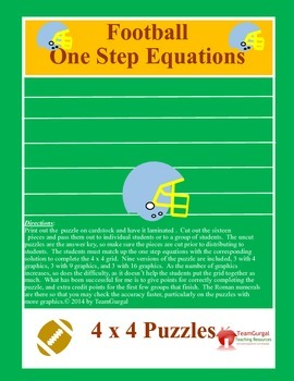 Football Math Puzzles - One Step Equations