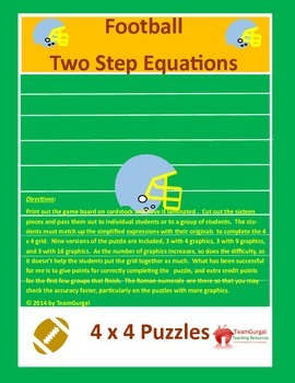 Football Math Puzzles-Two Step Equations