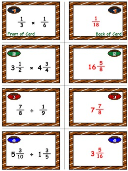Football Frenzy Game Cards (Multiply & Divide Fractions) Sets 4, 5, 6
