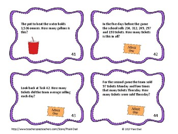 Football Math Word Problem Task Cards