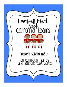 Football Math:Problem Solving for 4th/5th, Common Core Aligned-CA Teams Edition