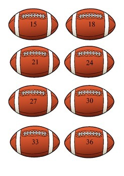 Football Multiplication--3's, 4's, 5's and 6's