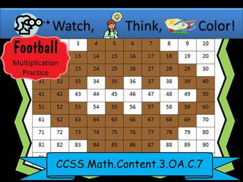 Football Multiplication Practice - Watch, Think, Color Mystery Pictures