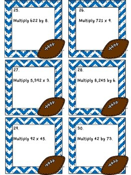 Multiplication Game - Football Scoot!  4.NBT.5
