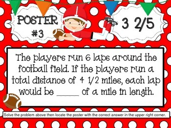 Football Multiplying and Dividing Fractions Word Problems Scavenger Hunt