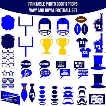 Football Navy Printable Photo Booth Prop Set