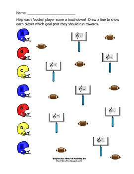 Football Notes worksheet - treble clef