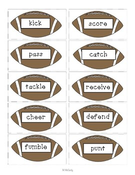 Football Nouns, Verbs and Adjectives Sort with Editable Pages