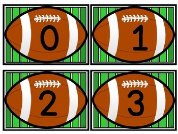 Football Math Number Flashcards 0-100