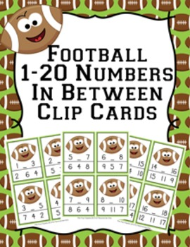 Football Numbers In Between Clip Cards