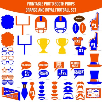 Football Orange Blue Printable Photo Booth Prop Set