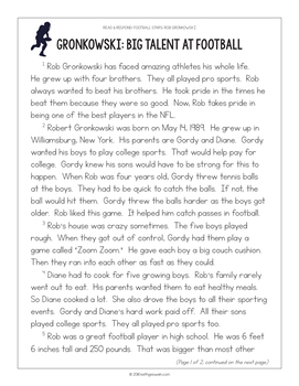 Football Paired Texts: Carson Wentz and Rob Gronkowski (Grades 1-2)