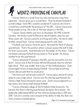Football Paired Texts: Carson Wentz and Rob Gronkowski (Grades 3-4)