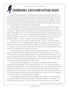 Football Paired Texts: Carson Wentz and Rob Gronkowski (Grades 5-6)