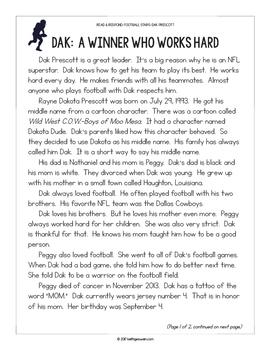 Football Paired Texts: Dak Prescott and Odell Beckham Jr. (Grades 1-2)