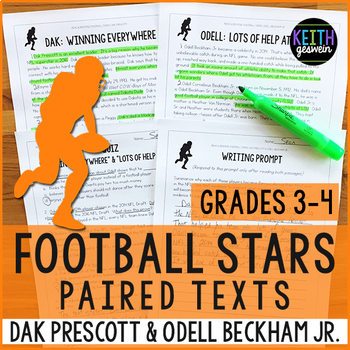 Football Paired Texts: Dak Prescott and Odell Beckham Jr. (Grades 3-4)