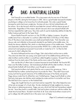 Football Paired Texts: Dak Prescott and Odell Beckham Jr. (Grades 5-6)
