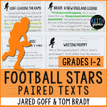 Football Paired Texts: Jared Goff and Tom Brady (Grades 1-2)