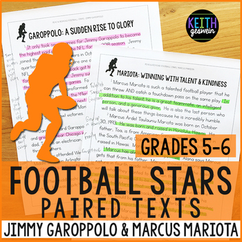 Football Paired Texts: Jimmy Garoppolo and Marcus Mariota (Grades 5-6)