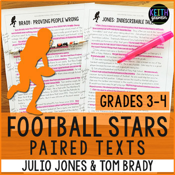 Football Paired Texts: Julio Jones and Tom Brady (Grades 3-4)