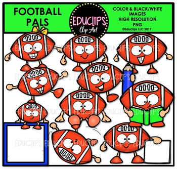 Football Pals Clip Art Bundle {Educlips Clipart}