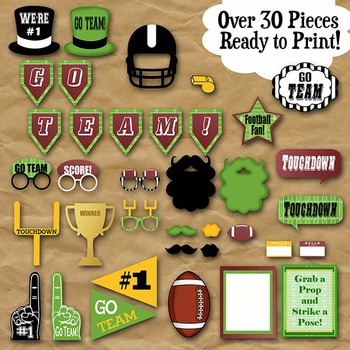 Football Photo Booth Props and Decorations - Printable