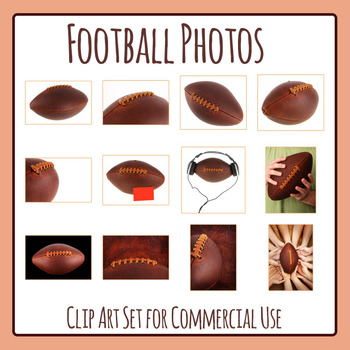 Football Photos / Photograph Clip Art Set for Commercial Use