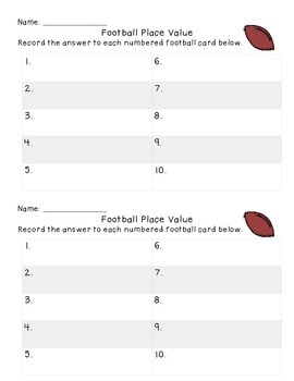 Football Place Value Activity